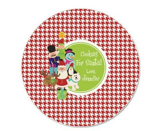 Santa Christmas Plate - Personalized - Melamine Christmas Plate - Kids Plate - Cookies for Santa Plate - Santa & Friends Character Plate