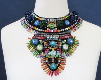 statement necklace, one of a kind bohemian necklace, tribal necklace, beaded necklace, crystal necklace, unique gift for her
