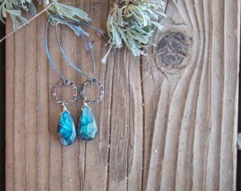 Bohemian Long Drop Earrings - hand hammered sterling silver and labradorite gemstones - Get festival ready
