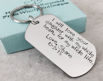 Personalized mother in law gift father in law gift I promise to love your daughter with my whole heart for my whole life fathers keychain