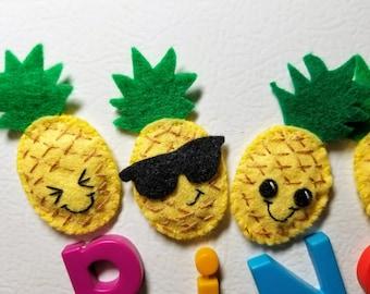 All Natural Wool Felt Pineapple Refrigerator Magnet