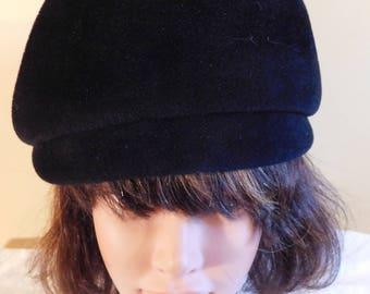 Vintage Black Beret Italian Tam Style Hat Wool Felt Made in Italy