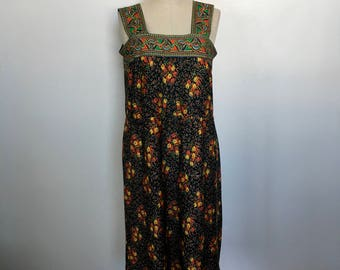 Vintage Handmade Floral Sundress Size L c. 1975