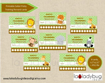 Safari potty training reward card. Printable potty training punch cards (boys or girls). African friends, jungle animals. Instant download.