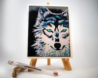 Greeting Card, Blank, Wolf Painting Design