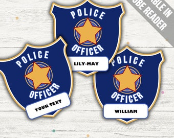 Police Officer Badge Printable (Police Party Printable). Printable PDF (EDITABLE). Instant Download.