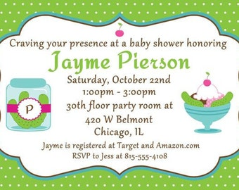 Pickles and Ice Cream baby shower invitations