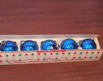Vintage Blue Shiny Brite Ornaments - box of 5!