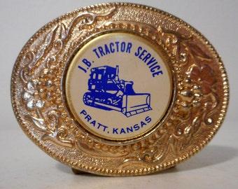 JB Tractor Service Belt Buckle Pratt Kansas KS Bulldozer Vintage country Western