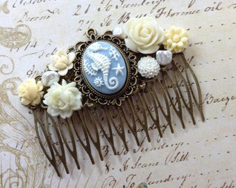 Seahorse And Floral Brass Hair Comb