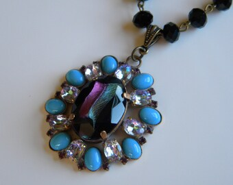 Vintage Czech Husar D Pendant Necklace Blue  Black and Amethyst Glass Necklace Vintaj Chain Statement Necklace
