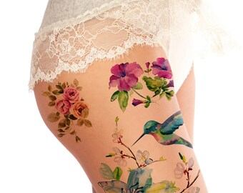 Supperb Large Temporary Tattoos - Spring flowers & Hummingbird