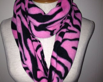 Pink and Black Tiger Stripe Fleece Infinity Scarf