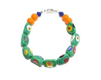 Venice millefiori green glass beaded layer stack bracelet