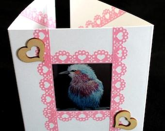 Lilac breasted roller bird card, bird card, aperture card, window card, art print card,