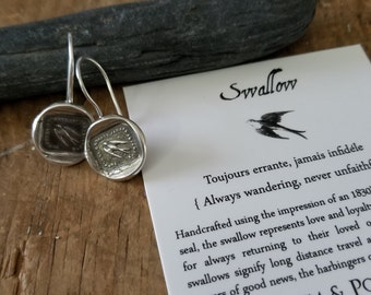 Swallow Wax Seal Hook Earrings - Always Wandering, Never Unfaithful - 303EAR