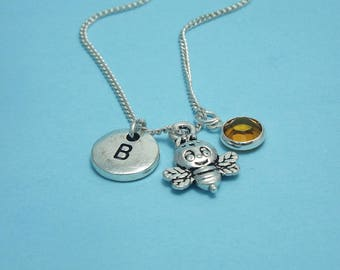 Little bee necklace silver Bee necklace charm Bee jewelry Bee pendant silver Bee gifts for kids Honey bee necklace Buzz Bee pendant necklace
