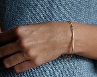 Diamond bar Bracelet, Pave Diamond Bracelet,14k Gold Bar Bracelet