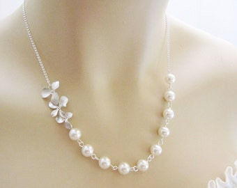 Wedding Jewelry Bridal Necklace Bridesmaid Necklace Matte rodium finish Orchid Trio Flower charm and Crystal White Swarovski Pearls