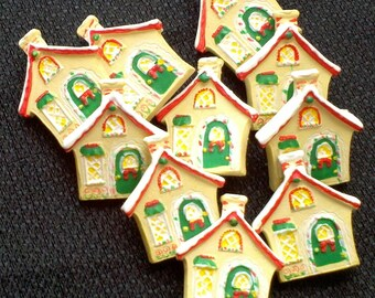 STORE CLOSING - See Shop Announcement - Christmas House Buttons - 1 inch - You Pick Quantity set from 5 to 180