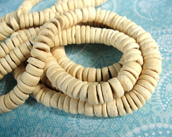 100 Natural color Coco wood Beads - Donuts Rondelle Disk Beads 8mm