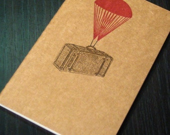 Parachute Suitcase - Gocco Screen-Printed Lined Notebook