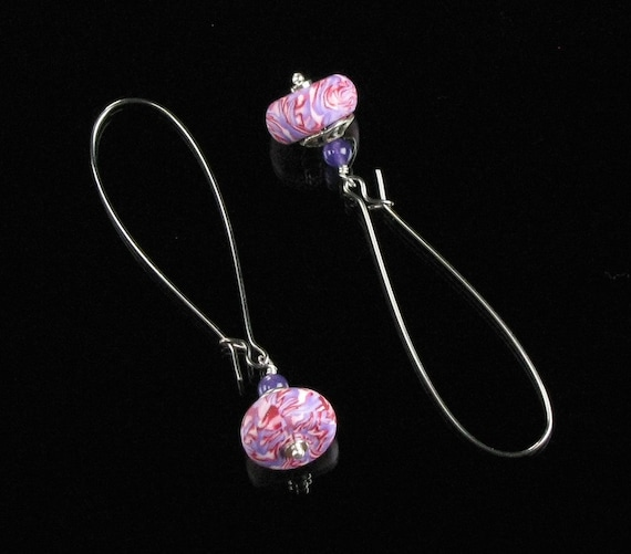 Pink Drop Earrings, Lightweight Polymer Clay Dangle Earrings, Pink Long Earrings, Unique Jewelry Gift for Her, Gift for Valentine, Friend