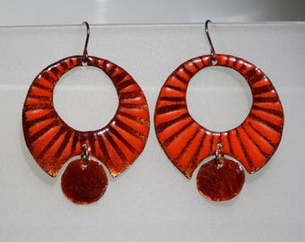 Orange and amber circle earrings, torch fired enamel on copper
