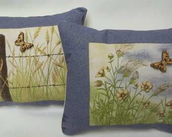 Country Mini Pillows, Butterfly In Field Pair Of Natue Mini Pillows