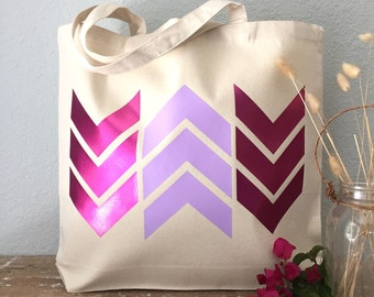 Pink & Purple Arrow Chevron Tote Bag  - beach bag, purse or bridesmaids gift