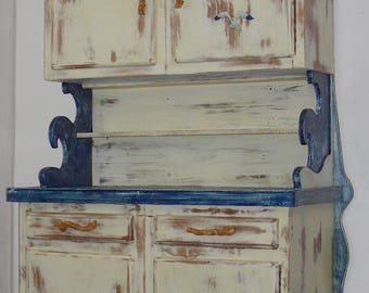 Blue and white patina buffet Cabinet Sea Gull wave boats lighthouse