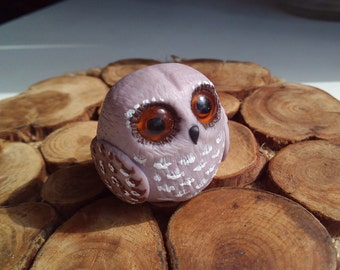 Owl figurine polymer clay  Owl sculpture Miniature toy Birthday gift Birds of night Animal totem Home decor Father day gift