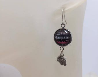 """Earrings cabochon """"Godmother"""" foot charm"""