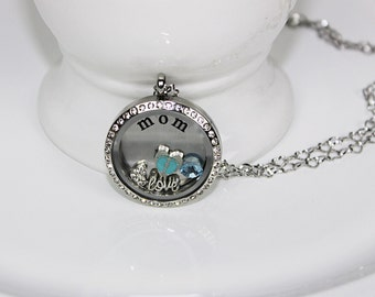 New Mom Floating Locket Necklace Mothers Day Gift, New Mother Gift, Its A Boy Gift, Mother Birthday Gift