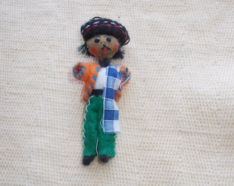 Vintage Hand Made Mexican Cloth Christmas Ornament-Mexican Man-Sombrero-Serape-FREE SHIPPING!!