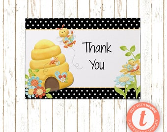 Bumble Bee Cards | Thank You Cards | Editable Printable PDF or JPEG | Instant Download | Templett | BSI188TY
