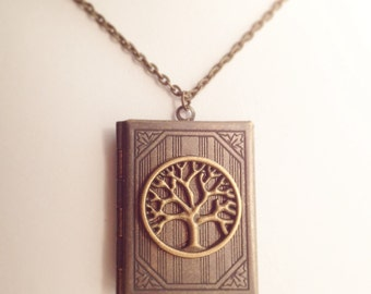 Tree of Life Book Locket Necklace / Book Lover Gift Family Tree Pendant Photo Keepsake Reader Gift for Mother Grandmother Real Locket Bronze