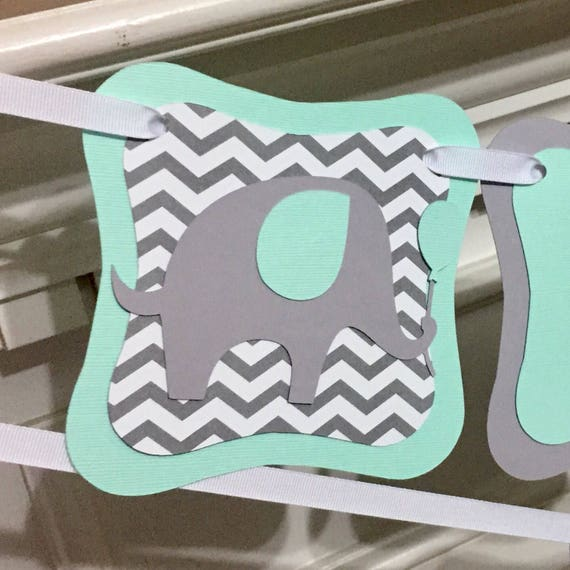 Baby Shower Custom Banners: Elephant Mint Baby Shower Banner Personalized Name Banner