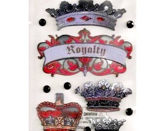 3D stickers 18 x 10 cm Sticko scrapbooking creative cardmaking Royal crowns