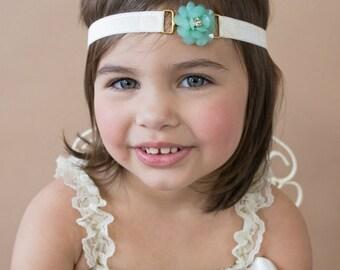 Flower Headband - Rhinestone Headband - Mint Green Headband - Baby Headband - Classy - Special Occasion - Flower Girl Headband - Headbands
