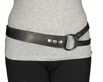Distressed black split ring hip belt