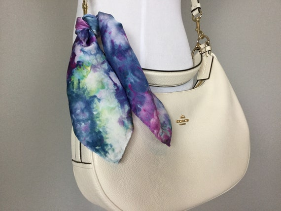 "16"" Silk Purse Scarf or Luggage Identifer, 100% Silk Satin,  Ice Dye Tie Dye Purple Blue Hydrangea Green Purse Scarves #216"