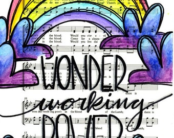 Wonder Working Power in the Blood 5x7 Print Hymn Fine Art Hymnal Watercolor Painting Praise Sheet Music Hand Lettering Calligraphy War Room