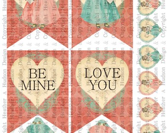 Valentine's Day Banner Vintage Shabby Chic Download Party Romantic  DIY Printable Digital Collage Sheet Victorian Papers