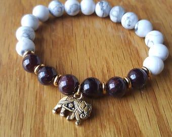 Garnet + howlite + gold elephant mala inspired bracelet/ yoga and meditation bracelet/ gemstone bracelet