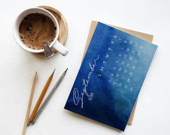 2018- Blue Watercolors Desk Calendar- Printable- 6x9- Digital