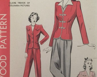Vintage Sewing Pattern 40s Hollywood Pattern #964 Jacket and Slacks featuring Claire Trevor ©1942
