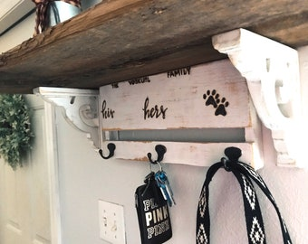 His Hers 🐾 Key & Leash Holder. Pallet Hooks.