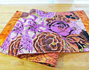 Quilted Table Runner, Fall Table Runner,  Purple Table Runner, Modern Table Runner, Fabric Table Runner, Table Topper. Kaffe Fassett Fabric