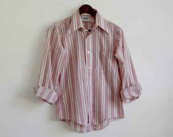 Vintage Mens Shirt, 70s Mens Shirt, Striped Mens Shirt, Collared Shirt, Button Down, Button Up Shirt, Red and White Shirt, Chest 38 Medium